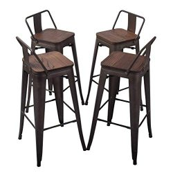 H JINHUI Distressed Metal Counter Bar Stool Set of 4, 30 inches Height Antique Indoor Outdoor Ba ...
