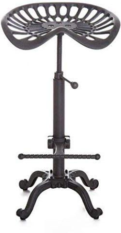 LOKKHAN Industrial Bar Stool-Cast Iron Tractor Seat Stool-Adjustable Counter Height Swivel Break ...