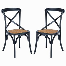 Poly and Bark Cafton Crossback Chair in Black (Set of 2)