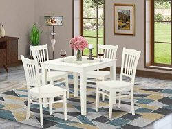 5 PC Kitchen Table and 4 Wood Dining Chairs in Linen White