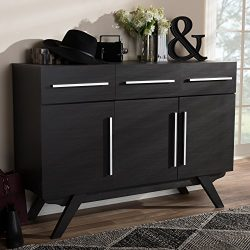 Baxton Studio 3-Drawer Sideboard in Espresso Brown Finish