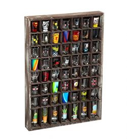 J JACKCUBE DESIGN – Rustic Wood Shot Glasses Display Case 56 Compartments Wall Mount Pint  ...