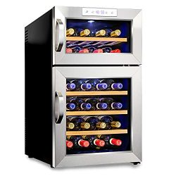 Ivation Premium Stainless Steel 24 Bottle Dual Zone Thermoelectric Wine Cooler/Chiller Counter T ...