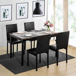 MOOSENG, 5 Pieces Dining Table Set, Elegant Faux Marble Desk and 4 Upholstered PU Leather Chairs ...