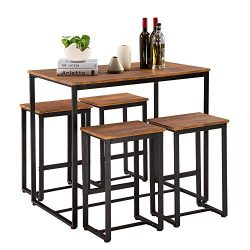Bonnlo Pub Table Set 5 Pieces Bar Height Table with 4 Bar Stools Dining Table Set with Metal Fra ...