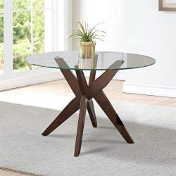 Steve Silver Amalie 48″ Round Glass Top Dining Table