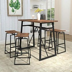 Homissue 5-Piece Dining Room Table Set, Counter Height Bar Table with 4 Stools, Perfect for Smal ...