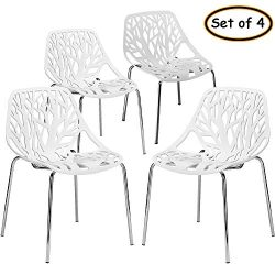 Bonnlo Modern Stackable Chair Set of 4 Kitchen Dining Chair Birch Sapling Comfy Chairs for Indoo ...