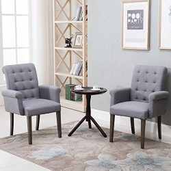 Fabric Tufted Dining Chair Accent Chair with Armrest and Solid Wood Legs (Grey)