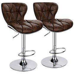 Leopard Shell Back Adjustable Swivel Bar Stools, PU Leather Padded with Back, Set of 2 (Brown-Ho ...