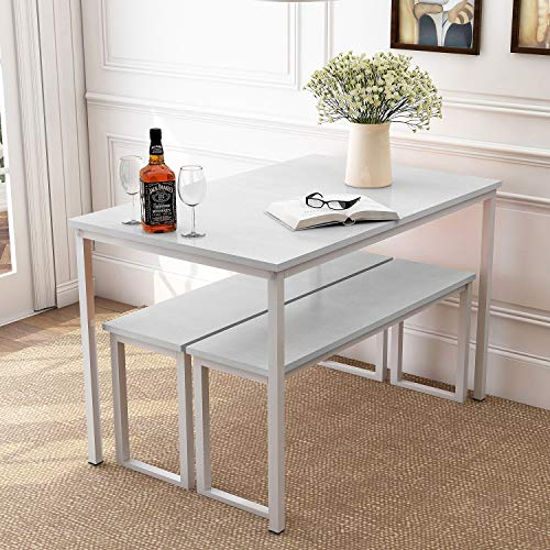 Danxee 3 Piece Dining Set Modern Style Dining Table Kitchen Table with 2 Benches (White)