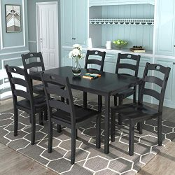 Harper & Bright Designs Dining Table Set for 6 Person, Kitchen Dining Room Table Set of 7, D ...