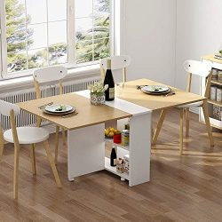 Tribesigns Folding Dining Table, 6 Wheels Movable Dinner Table, Extendable Table with Cabinets,  ...