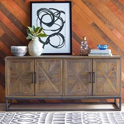 Modern Farmhouse Rustic Industrial Reclaimed Wood Metal Buffet Server Sideboard Cabinet Dining R ...