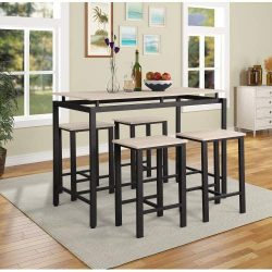 Merax Dining Table Set 5 Pieces Counter Height Pub Table Set, Dining Height Table with 4 Chairs, ...