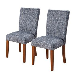 HomePop Parsons Classic Upholstered Accent Dining Chair, Set of 2, Navy