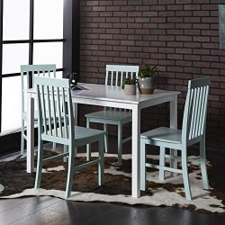 Walker Edison Furniture Company Modern Color Dining Room Table and Chair Set Small Space Living, ...