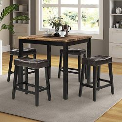 Dining Table Set, Rockjame 5 Piece Marble Top Counter Height Table Set with 4 Leather-Upholstere ...