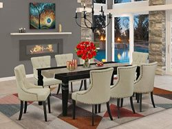 9Pc Dining Set Includes a Rectangle Dining Table with Butterfly Leaf and Eight Parson Chairs wit ...