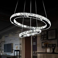 Antilisha LED Chandelier Lighting Crystal Modern LED 2 Rings Pendant Lights for Bath-Room Closet ...