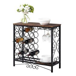 MORITIA Wine Storage Organizer Display Rack, Freestanding Wine Rack with Glass Holder, Holds 24  ...