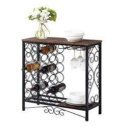 MORITIA Wine Storage Organizer Display Rack, Freestanding Wine Rack with Glass Holder, Holds 24  ...