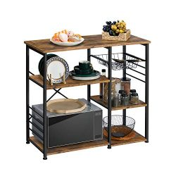 Kicode Bakers Rack, Kitchen Baker's Racks with Wire Mesh Storage Shelves, Kitchen Storage  ...