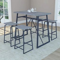 Homissue 5-Piece Pub Height Bar Table with 4 Stools, Dining Room Table Set for Breakfast Nook, L ...