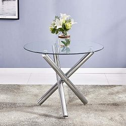 FCH Round Glass Dining Table Modern Kitchen Table with Tempered Glass Top Anti-Scratch Feet Dine ...