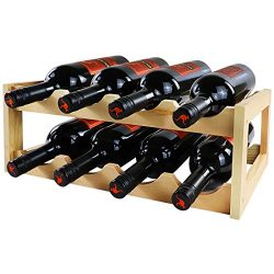 LadyRosian 8 Bottles Wine Rack 2 Tier Nature Bamboo Wine Display Rack,Free Standing and Countert ...