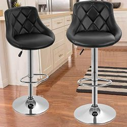 Dkeli Counter Height Bar Stools Set of 2 Leather Adjustable Bar Chairs for Kitchen Living Room P ...
