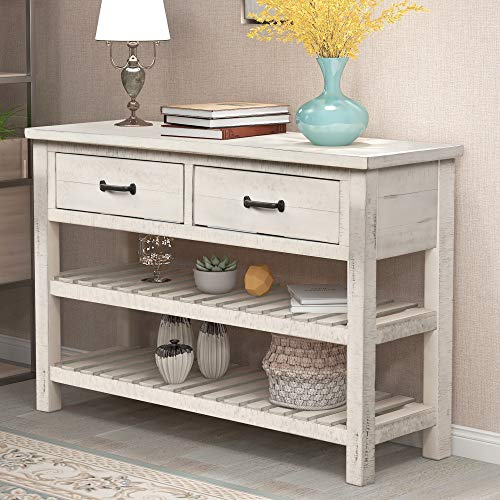 Console Table, Buffet Sideboard Sofa Table with Storage Drawers and 2 Tiers Shelves, Antique Whi ...