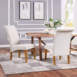 Romatpretty Set of 2 Dining Chair, Fabric Padded Side Chair, Dining Chair Upholstered with Solid ...