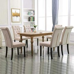 Homy Grigio Aristocratic Style Dining Chair Noble and Elegant Solid Wood Tufted Dining Chair Din ...