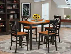 YAQU5-BLK-W 5 Pc counter height Dining room set-pub Dining Table and 4 Dining Chairs.