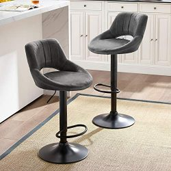 Art Leon Modern Retro PU Leather Adjustable 360 Swivel BarStools Chair Set of 2 with Open Backre ...