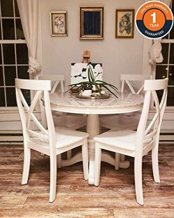 Harper & Bright Designs 5 Piece Round Dining Set with 4 Chairs, Wood Dining Table Set Antiqu ...