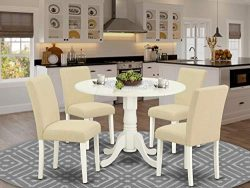 5Pc Round 42″ Kitchen Table With Two 9-Inch Drop Leaves And Four Parson Chair With Linen W ...