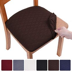 smiry Stretch Jacquard Dining Chair Seat Covers, Removable Washable Anti-Dust Upholstered Chair  ...