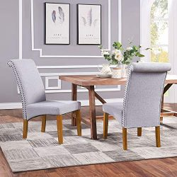 Romatpretty Dining Chairs Fabric,Fabric Padded Side Chair with Copper Nails and Solid Wood Legs, ...