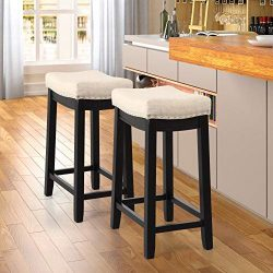 Teeker Kitchen Backless Linen Counter Height Stools with Nailhead Studs, Dining Chairs, Coffee B ...