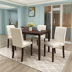 Harper & Bright Designs Dining Table Set for 4, Kitchen Table Set Wooden Table and 4 PU Leat ...