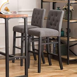 YEEFY 30″ Button-Tufted Fabric Barstools Dining High Bar Height Side Chairs, Set of 2 (Gray)