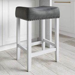 Nathan James Hylie Nailhead Wood Pub-Height Kitchen Counter Bar Stool 24″, Dark Gray/White
