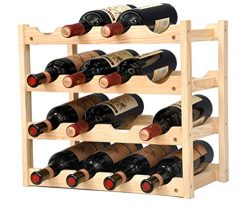 Pine Wine Holder 4 Layer 16 Bottles Wood Wine Rack Wine Shelf Wine Cabinet Display Stand for Hom ...