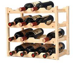 Pine Wine Holder 4 Layer 16 Bottles Wood Wine Rack Wine Shelf Wine Cabinet Display Stand for Hom ...