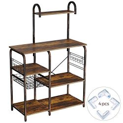 Rolanstar Kitchen Baker's Rack with 7 Storage Shelves and 12 Hooks,Foldable Pull Basket wi ...