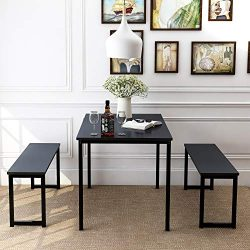 Harper & Bright Designs 3 Pieces Dining Table Set with 2 Benches Kitchen Dining Room Furnitu ...