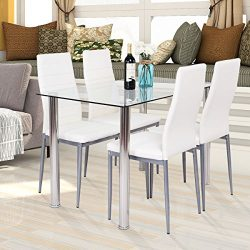 HAPPYGRILL 5-PCS Dining Table Chair Set, Tempered Glass Top Table and PVC Leather Chair Set for  ...