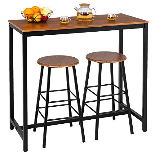 Bonnlo 3 Piece Counter Height Table Set Kitchen Bar Table Set with 2 Stools Breakfast Bistro Set ...